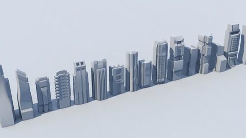 futuristic architecture set 003