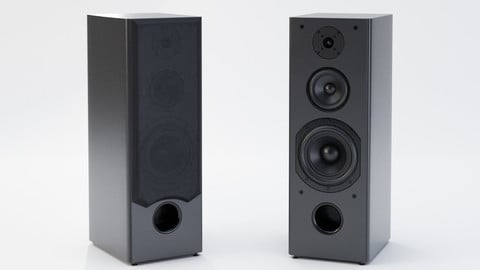 Pair of Big Music Speakers - Low-poly 3D Model
