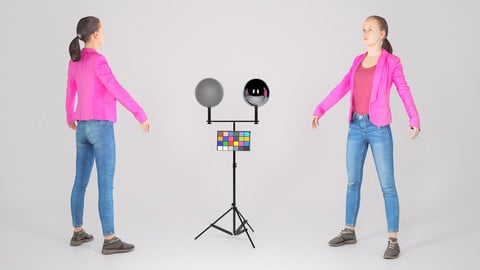 Female in a purple jacket ready for animation 200
