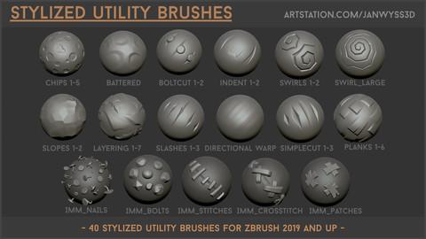 Stylized Utility Brushset: 40 Stylized Brushes for Zbrush for 2019 and up