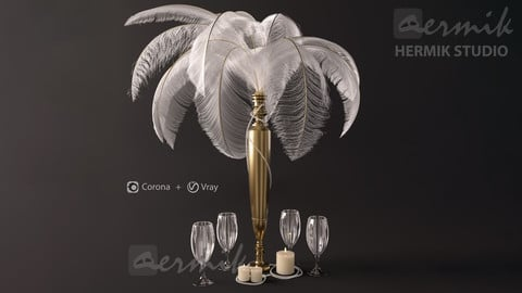 Decorative set White Natural Plume Ostrich Feathers