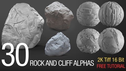 30 easy sculpting rock and cliff alphas (tilable 2k, tiff 16bit )
