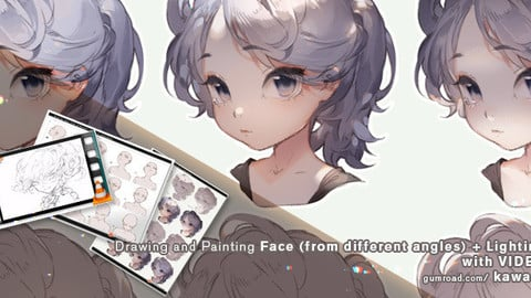 Drawing and Painting Face (from different angles) + Lighting B