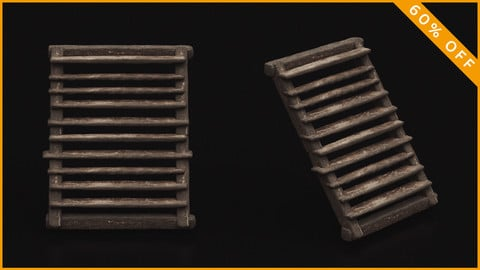Medieval Wooden Stairs 3D Model