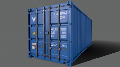 PBR 20 ft Shipping Cargo Container Version 2 - Blue Light