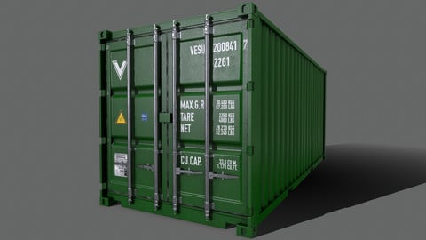 PBR 20 ft Shipping Cargo Container Version 2 - Green