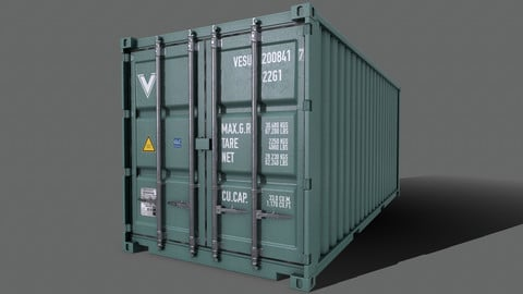 PBR 20 ft Shipping Cargo Container Version 2 - Green Light