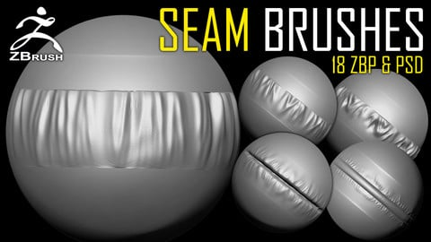Seam Brushes + Alphas (PSD)