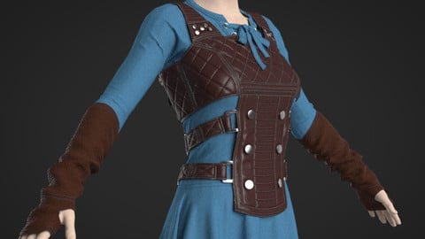 Female Medieval Fantasy Outfit - 48 Marvelous Designer and Clo3D
