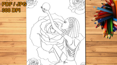 Egyptian Princess Printable Coloring Page, digital stamp
