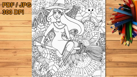 Floral witch printable coloring page, digital stamp