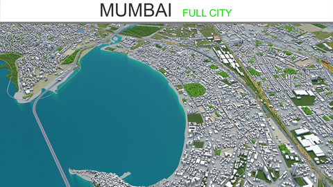 Mumbai City 3D Model 50km