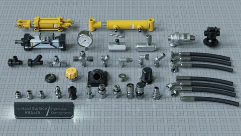 Hard Surface Kitbash Pack - Hydraulic Components