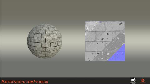 Cracked gray brick + Substance designer + UE4