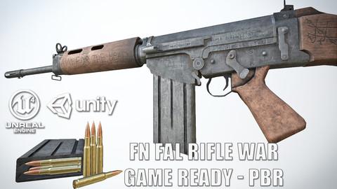 PBR FN FAL Rifle War Game-Ready