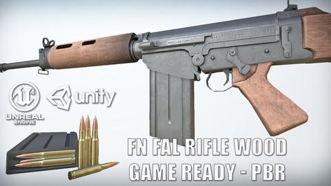 PBR FN FAL Wood Game-Ready