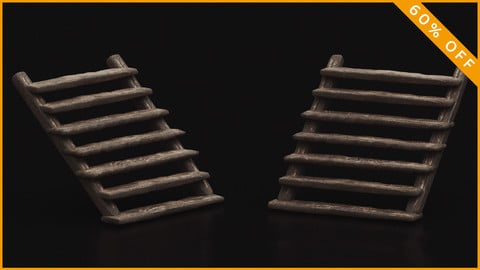Meieval Wooden Stairs 3D Model