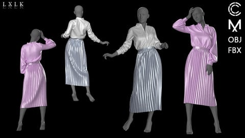pleats skirt with shirts