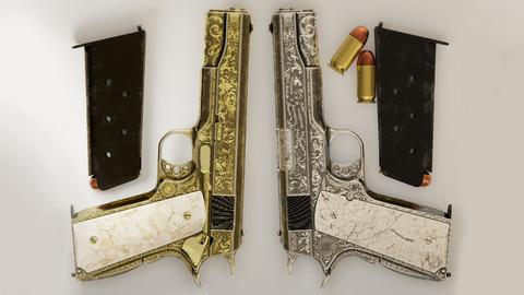 Twin Pistols (2 Ornated M1911 Govenrment Pistols)