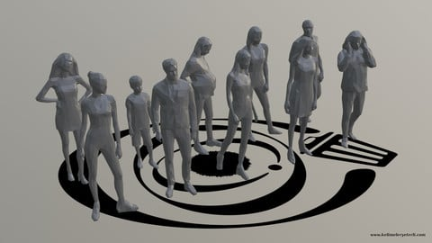 Low Poly People Pack 006 - 10 Pieces R