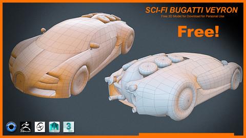 Free Polygon!!! Sci-Fi Bugatti Veyron 3D Model