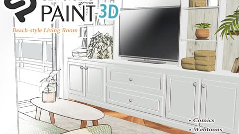 Beach-style Living Room 1 (CLIP STUDIO PAINT 3D MODEL)