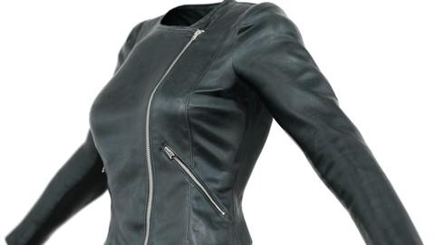 Vintage Jacket Black Leather Slim