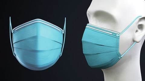 Medical - Surgical face mask with dummy head Low-poly 3D model