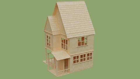 Popsicle Stick House in Blender and other formats