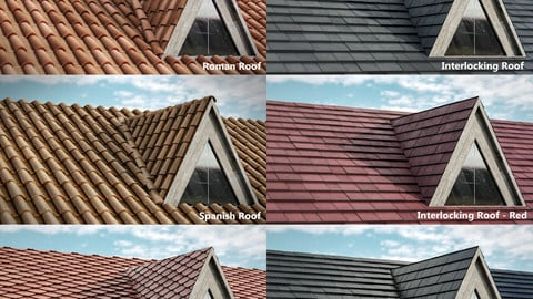 Archviz Roof tiles Pack | PBR compatible, 4K