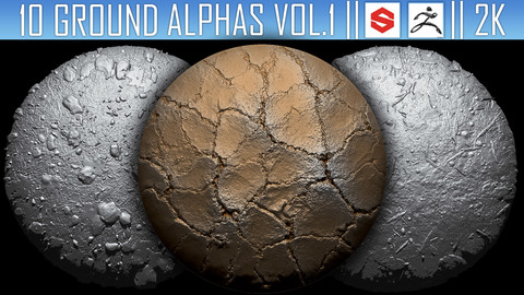 10 Ground Alphas Vol.1 (ZBrush, Substance, 2K)