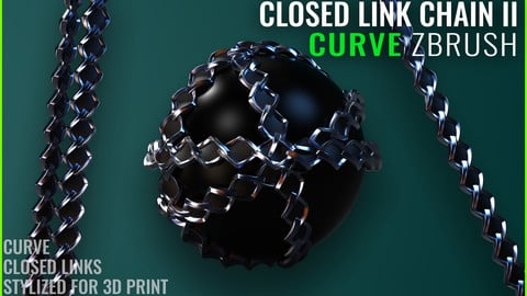 Chain Closed Link Curve II - Zbrush - Stylized for 3D Print