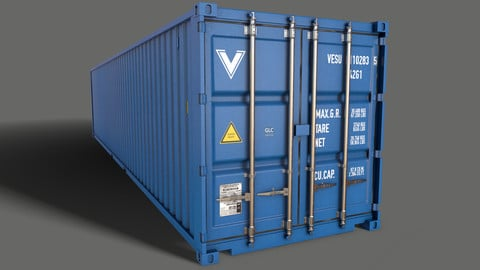 PBR 40 ft Shipping Cargo Container - Blue Light