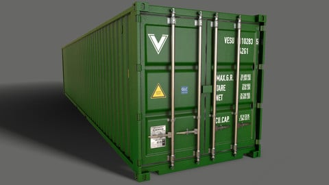 PBR 40 ft Shipping Cargo Container - Green