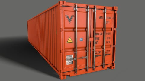 PBR 40 ft Shipping Cargo Container - Orange