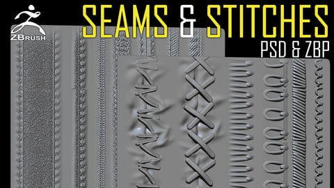 Seams and Stitches ZBrush Alphas + Brush