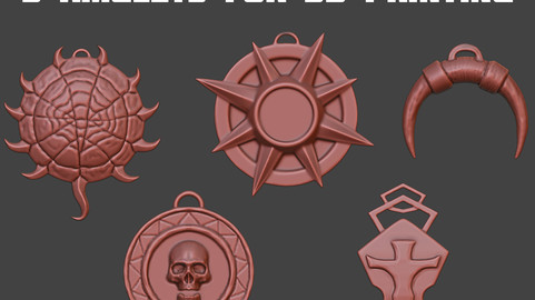 5 amulets for 3D printing