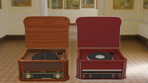 Vintage Record Player Radio 3D Model