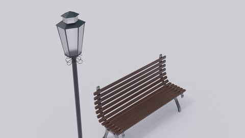 Wooden Street Bench - Lamp Post