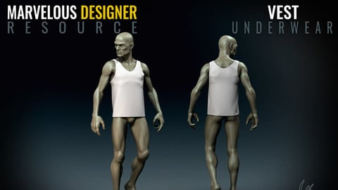 Vest - Standard Male - Marvelous Designer Freebie