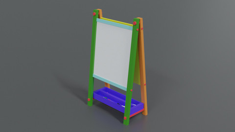Low Poly Cartoon Kids Drawing and Writing Board