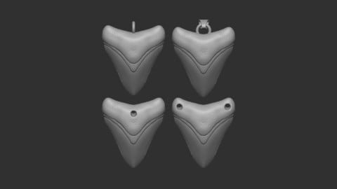 Megalodon tooth necklace pendant, with 4 variations. (3D printable)