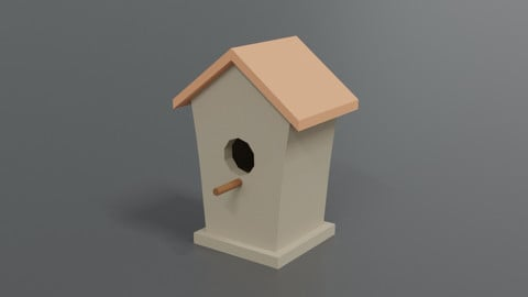 Low Poly Cartoon Bird House