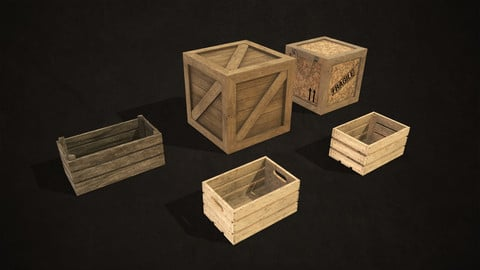Wooden Crates - Low Poly