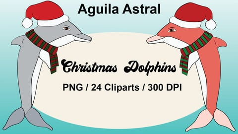 Dolphins pack 24 cliparts, PNG, christmas, party
