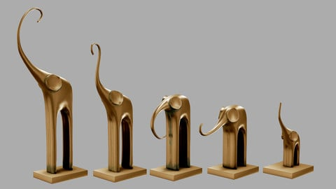 Low poly model Five elephants.