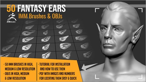 50 Fantasy Ears IMM Brushes & OBJs