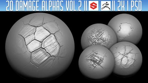 20 Damage Alphas Vol.2 (ZBrush, Substance, 2K, PSD)