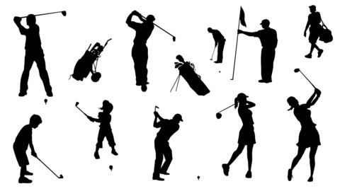 Vector Golf Silhouettes - Family Set 01