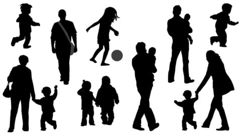 Vector Silhouettes - Parents and their kids set 02